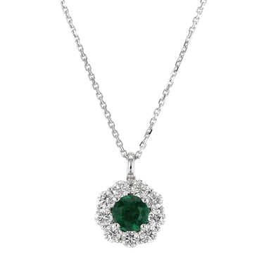 Emerald and Diamond Halo Pendant Necklace, 18K White Gold, 6mm Round Emerald, .92 Round Diamonds