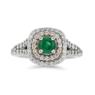 EMERALD AND DOUBLE DIAMOND HALO RING, ROUND, 14K WHITE GOLD, .71TDW