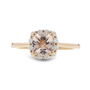 Pink Morganite and Diamond Halo Ring, 14K Rose Gold, .26CT