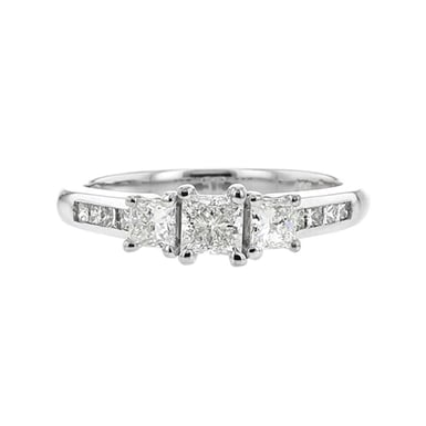 Princess-Cut, Three Stone Engagement Ring, 14K White Gold