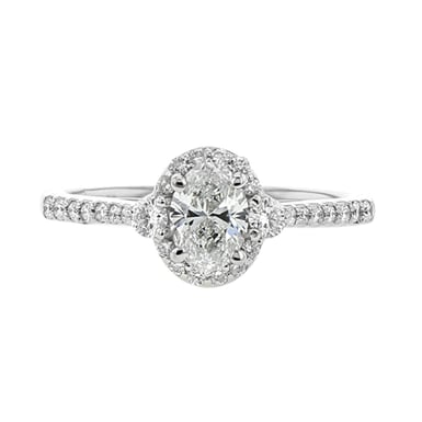 Oval Halo Engagement Ring, Platinum