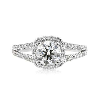 Forevermark Diamond Engagement Ring, .90 CT Round, 18K White Gold TWT.34
