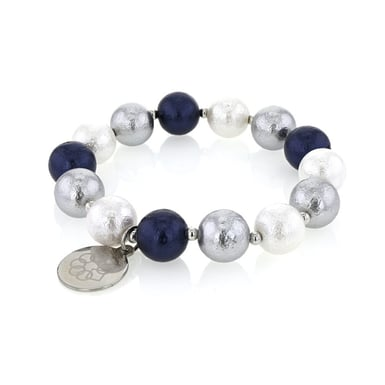 EMBRACE THE DIFFERENCE®, 12 mm Mother of Pearl Matte Stretch Bracelet in Blue, Silver and White