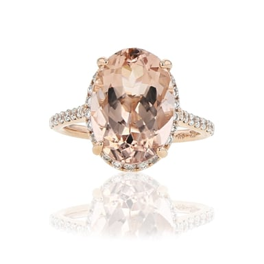 Morganite Ring with Diamond Halo, 14K Rose Gold