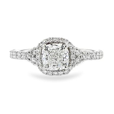 Halo Cushion Engagement Ring,1.01 Carat, White Gold