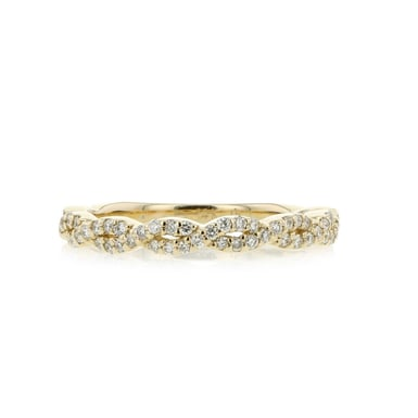 14K Yellow Gold Pave Diamond Twist Half-Eternity Infinity Band