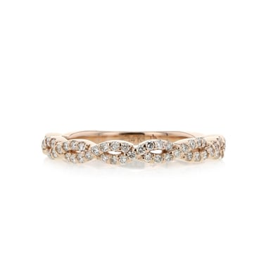 14K Rose Gold Pave Diamond Twist Half-Eternity Infinity Band