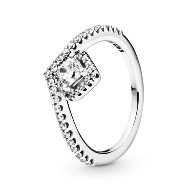 Pandora Square Sparkle Wishbone Ring with Cubic Zirconia