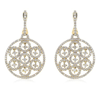 Diamond Flower Drop Earrings, 18K Yellow Gold, 2.22CT