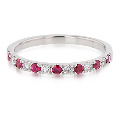 Ruby and Diamond Half-Eternity Band Ring, 14K White Gold, .15CTW