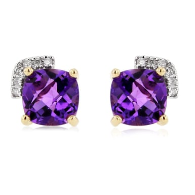 Amethyst and Diamond Earrings, 14K Yellow Gold, .04CT