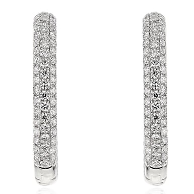 Diamond Inside-Out Hoop Earrings, 14K White Gold, 2.42CT