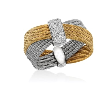 "ALOR ""Classique"" 18k White Gold Ring with .16CT Diamonds, Stainless Steel, Yellow and Grey Cable"