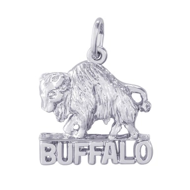 Buffalo Charm, Sterling Silver
