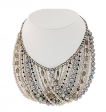 "HONORA 4-7.5mm White and Grey Pearl ""Bohemian"" Bib Necklace"