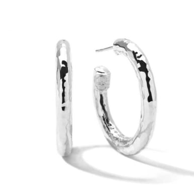 Ippolita Classico Small Hammered Hoop Earrings, Sterling Silver