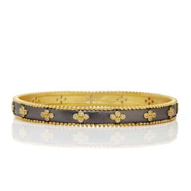FREIDA ROTHMAN Signature Clover Beaded Bangle Bracelet, 14K Yellow Gold Plating and Black Sterling Silver, CZ