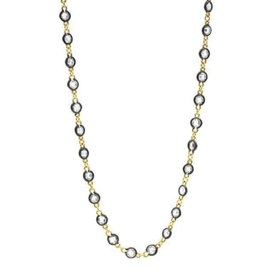 FREIDA ROTHMAN Radiance Wrap Necklace, 14K Yellow Gold and Black Sterling Silver, CZ, 36 Inch