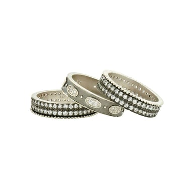 FREIDA ROTHMAN Signature Oval Eternity 3-Ring Stack, Sterling Silver, CZ