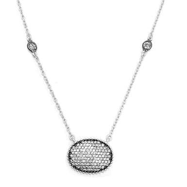 FREIDA ROTHMAN Signature Pavé Oval Disc Pendant Necklace, Sterling Silver, CZ