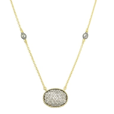 FREIDA ROTHMAN Signature Pavé Oval Disc Pendant Necklace, 14K Yellow Gold and Black Sterling Silver, CZ