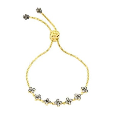 FREIDA ROTHMAN Signature Clover Strand Bolo Bracelet, 14K Yellow Gold Plating and Black Sterling Silver, CZ