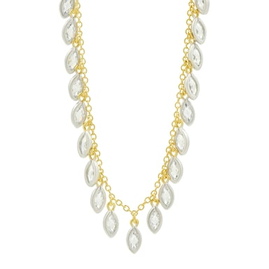 FREIDA ROTHMAN Fleur Bloom Petal Fringe Necklace, 14K Yellow Gold and Sterling Silver, CZ