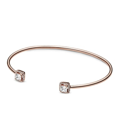 Pandora Square Sparkle Open Bangle in Pandora Rose™ with Cubic Zirconia