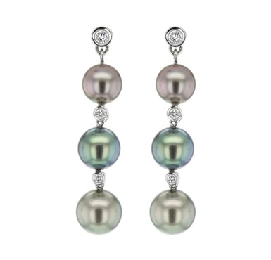 HONORA Tahitian Pearl and Diamond Accent Dangle Earrings, 14K Gold, .28CT