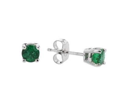 Emerald Solitaire Stud Earrings, 4MM Round, 14K White Gold