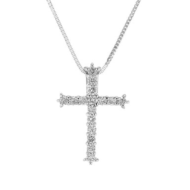14K White Gold Diamond Cross Pendant Necklace