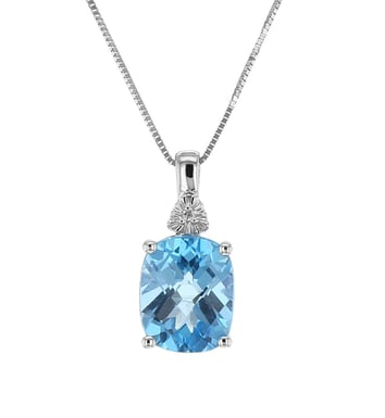 Blue Topaz and Diamond Pendant Necklace, 14K White Gold, .005DTW