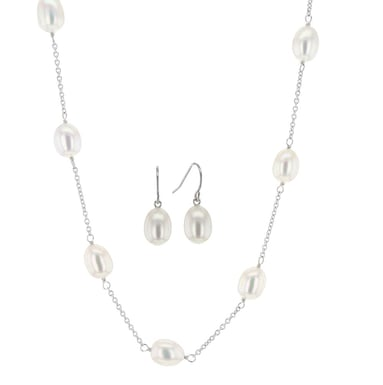 HONORA Pearl  Station Necklace and Drop Earring Set, Sterling Silver, 17 Inches