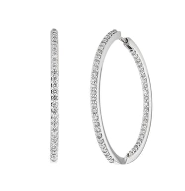 Diamond Inside-Out Hoop Earrings, 14K White Gold, 1.15CT
