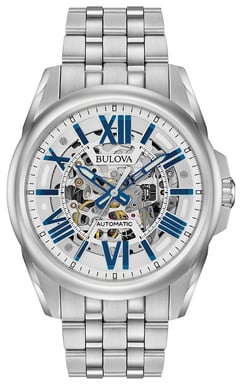 Bulova Men's Automatic Watch, Stainless Steel with Silver and Blue Skeleton Dial 96A187