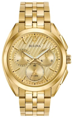 Bulova Men's CURV Watch, Goldtone Stainless Steel, Champagne Dial 97A125