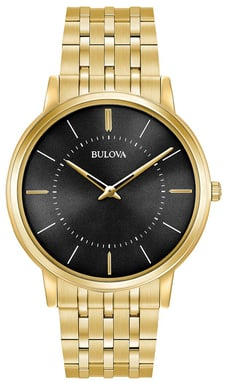 Bulova Men's Classic Ultra Slim Watch, Goldtone Stainless Steel with Black Dial 97A127