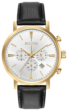 Bulova Men's Classic Watch, Goldtone Stainless Steel with Silver and White Dial 97B155