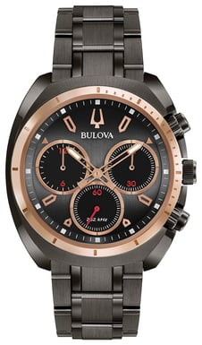 Bulova Men's CURV Watch, Stainless Steel and Rose Goldtone, Dark Grey Dial with Red Accents 98A158