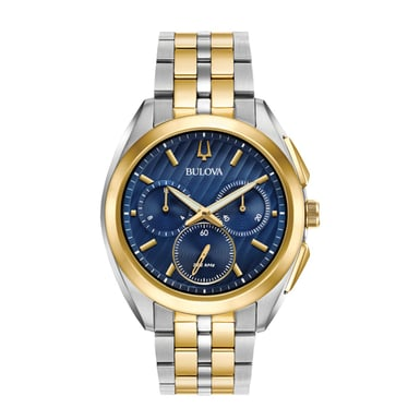 Bulova Men's CURV Watch, Stainless Steel and Goldtone, Blue Dial 98A159