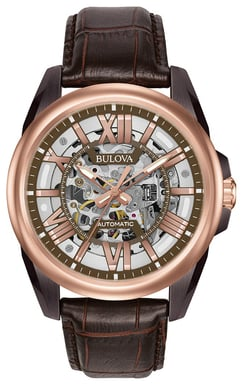Bulova Men's Automatic Watch, Brown Leather, Stainless Steel with Brown Skeleton Dial 98A165