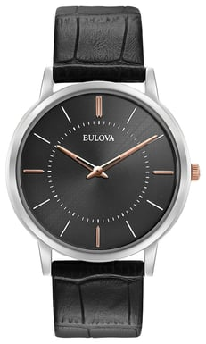 Bulova Men's Classic Ultra Slim Watch, Black Leather, Stainless Steel with Grey Dial 98A167