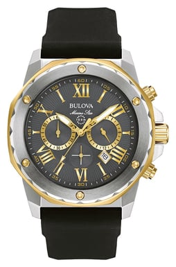 Bulova Men's Marine Star Watch, Black Silicone Strap, Stainless Steel, Grey Dial 98B277