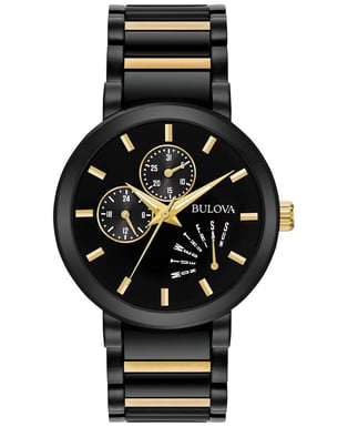 Bulova Men's Classic Watch, Black IP Stainless Steel with Black Dial with Day/Date 98C124