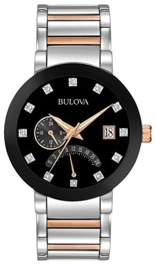 Bulova Men's 12-Diamond Black Dial Watch, Stainless Steel with Rose Goldtone Accents 98D129
