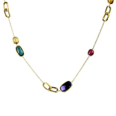 "Marco Bicego ""Murano"" 18K Yellow Gold Link & Multi-Stone Station Necklace"