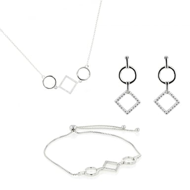 Embrace The Difference - Sterling Silver - Linear Collection - Earrings Bracelet Necklace Bundle
